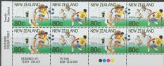 SG 1587a Centenary of New Zealand Football Association pair imprint block of 8 (NF1/79)